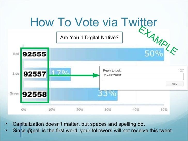 How To Vote via Twitter <ul><li>Capitalization doesn't matter, but spaces and spelling do. </li></ul><ul><li>Since @poll i...