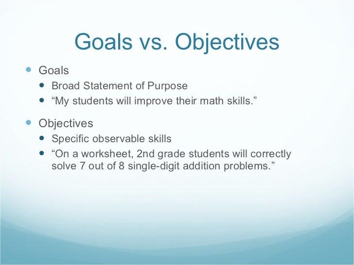 "Goals vs. Objectives <ul><li>Goals  </li></ul><ul><ul><li>Broad Statement of Purpose </li></ul></ul><ul><ul><li>"" My stude..."