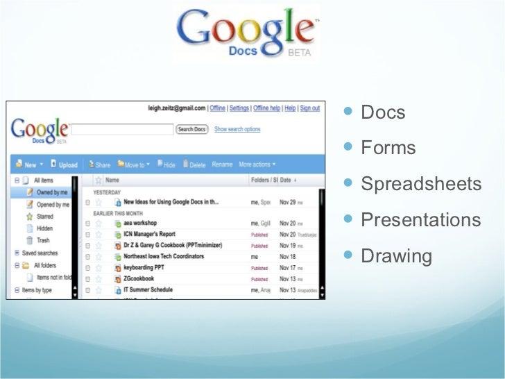 <ul><li>Docs </li></ul><ul><li>Forms </li></ul><ul><li>Spreadsheets </li></ul><ul><li>Presentations </li></ul><ul><li>Draw...