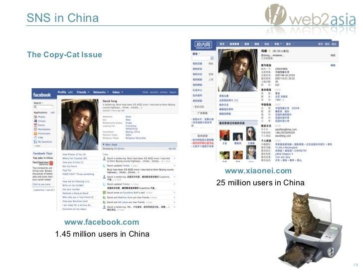 www.facebook.com www.xiaonei.com 1.45 million users in China 25 million users in China SNS in China The Copy-Cat Issue