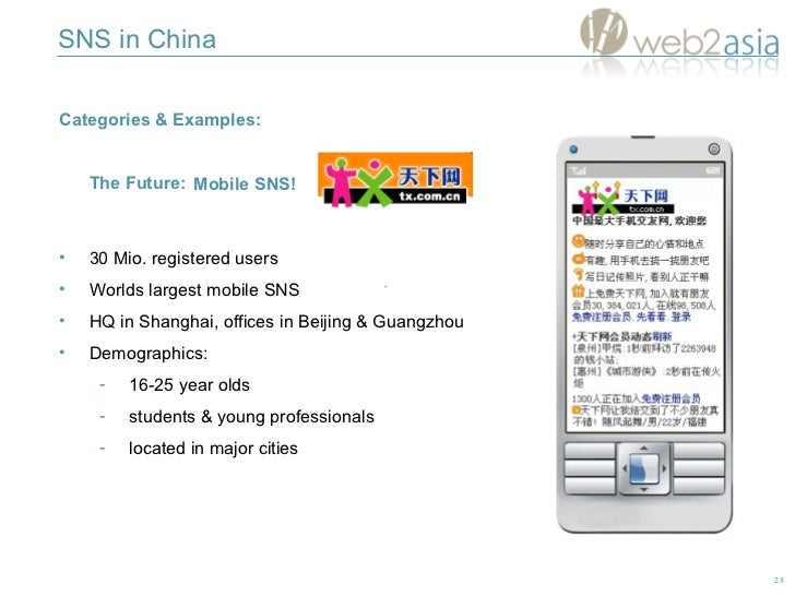 SNS in China Categories & Examples:  The Future: <ul><li>30 Mio. registered users </li></ul><ul><li>Worlds largest mobile ...