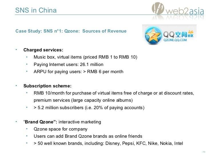 SNS in China <ul><li>Case Study: SNS n°1: Qzone:  Sources of Revenue </li></ul><ul><li>Charged services:   </li></ul><ul><...