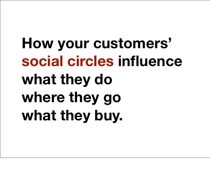 How your customers'social circles influencewhat they dowhere they gowhat they buy.