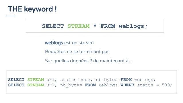 THE keyword ! SELECT STREAM * FROM weblogs; weblogs est un stream Requêtes ne se terminant pas Sur quelles données ? de ma...