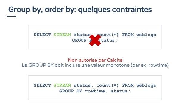 Group by, order by: quelques contraintes SELECT STREAM status, count(*) FROM weblogs GROUP BY status; Non autorisé par Cal...