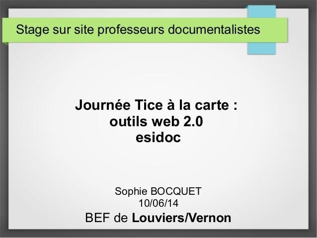Stage sur site professeurs documentalistes Journée Tice à la carte : outils web 2.0 esidoc Sophie BOCQUET 10/06/14 BEF de ...