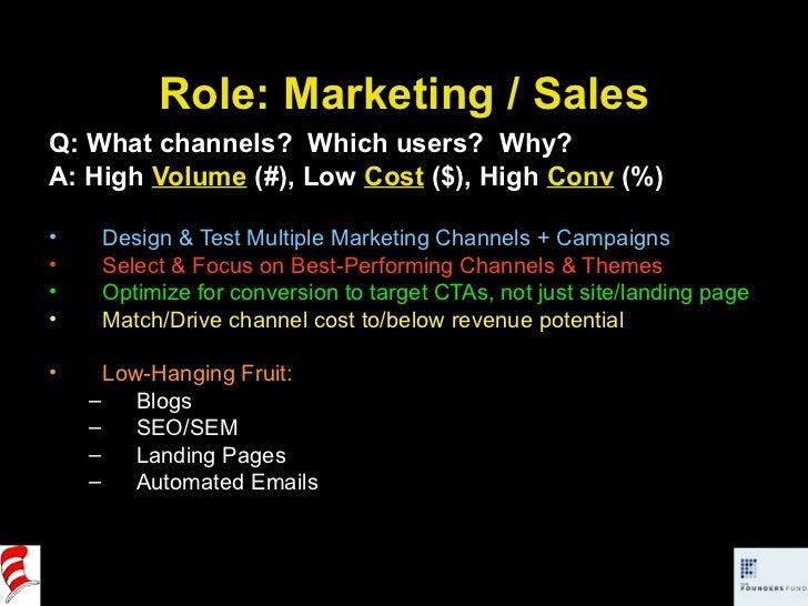 Role: Marketing / Sales <ul><li>Q: What channels?  Which users?  Why? </li></ul><ul><li>A: High  Volume  (#), Low  Cost  (...