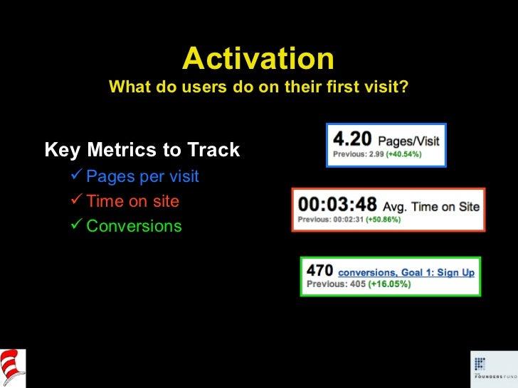 Activation What do users do on their first visit? <ul><li>Key Metrics to Track </li></ul><ul><ul><li>Pages per visit </li>...