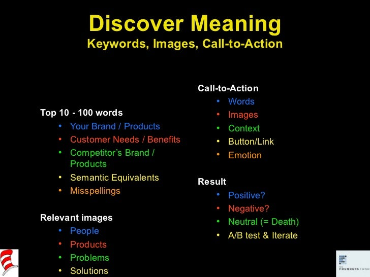 Discover Meaning Keywords, Images, Call-to-Action <ul><li>Top 10 - 100 words </li></ul><ul><ul><li>Your Brand / Products <...