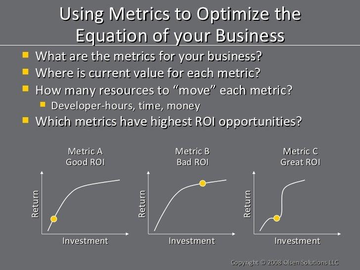 Using Metrics to Optimize the Equation of your Business <ul><li>What are the metrics for your business? </li></ul><ul><li>...