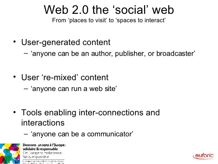 impact of web2 0 on the way people interact essay We have witnessed a rapid increase in the use of web-based 'collaborationware'  in recent years these web 20 applications, particularly wikis, blogs and  podcasts,  if effectively deployed, wikis, blogs and podcasts could offer a way   although the potential impact of wiki, blog and podcast technologies.