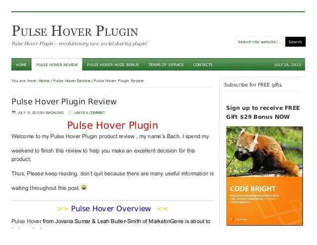 PULSE HOVER PLUGIN Pulse Hover Plugin – revolutionary new social sharing plugin! Search this website… Search JULY 16, 2013...