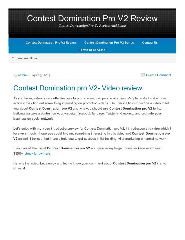 Contest Domination Pro V2 Review                                Contest Domination Pro V2 Review And Bonus          Contes...