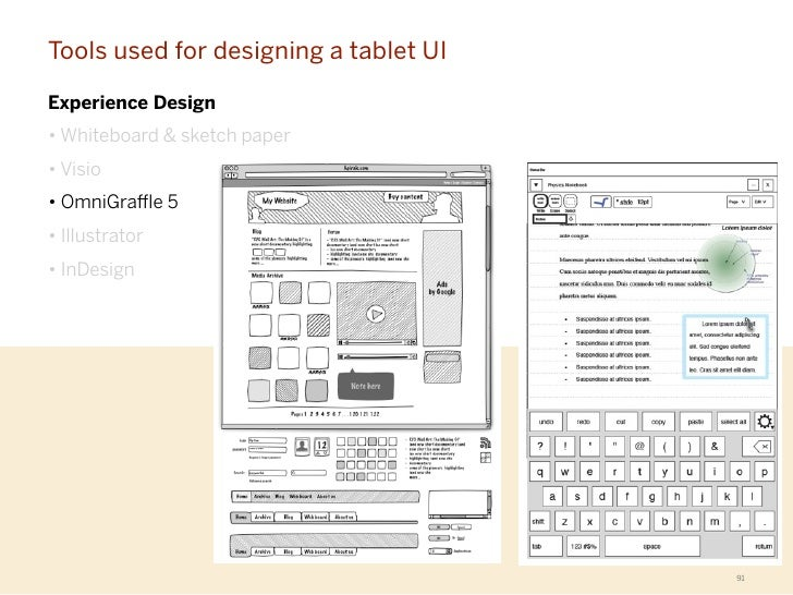 Tools used for designing a tablet UIExperience Design• Whiteboard & sketch paper• Visio• OmniGra e 5• Illustrator• InDesig...