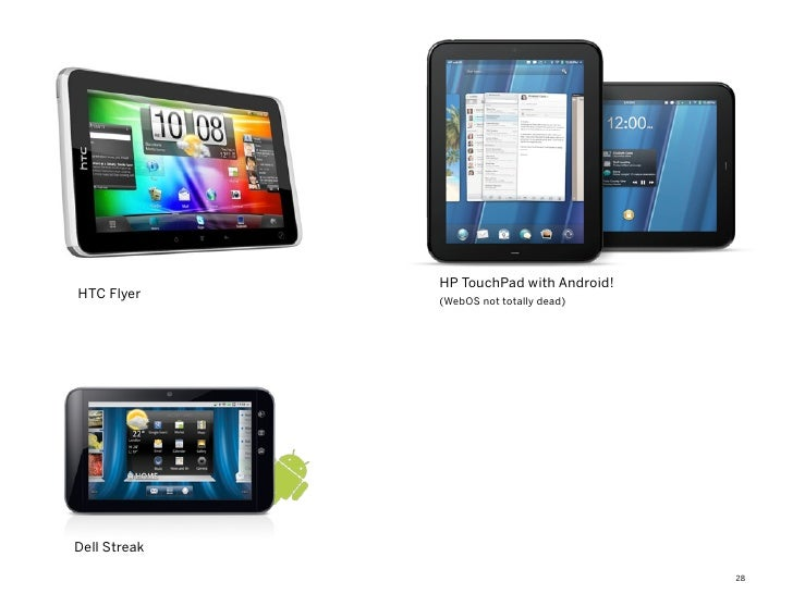 HP TouchPad with Android!HTC Flyer     (WebOS not totally dead)Dell Streak                                          28