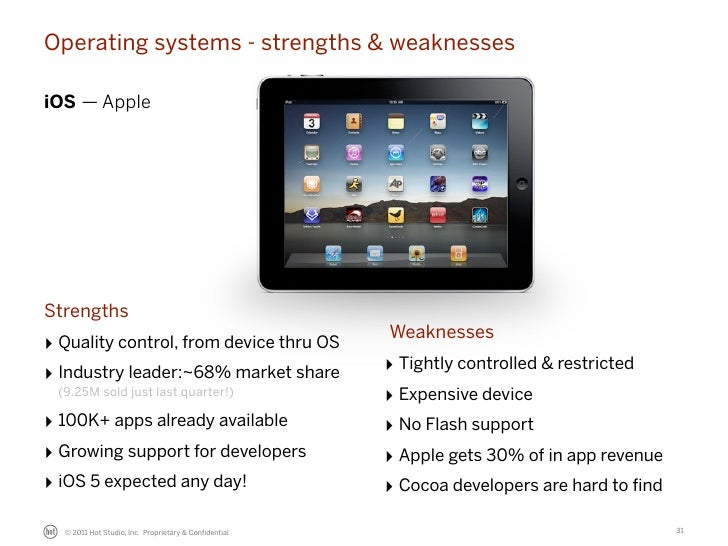Operating systems - strengths & weaknessesiOS — AppleStrengths                                                      Weakne...