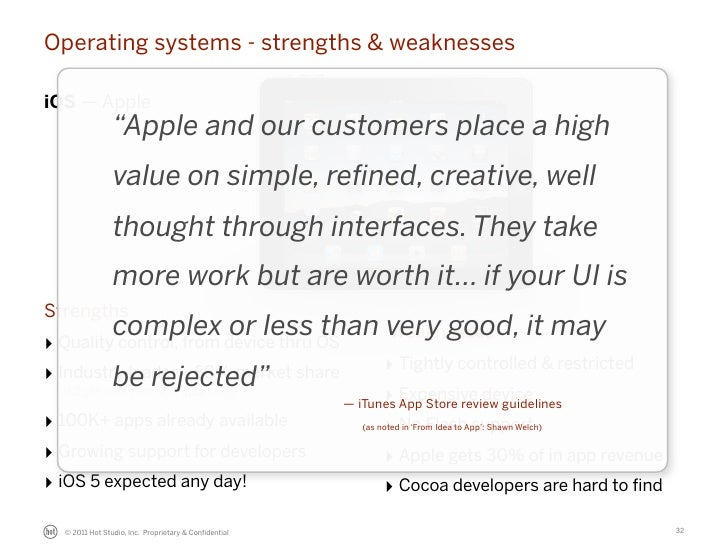 """Operating systems - strengths & weaknessesiOS — Apple                """"Apple and our customers place a high                ..."""