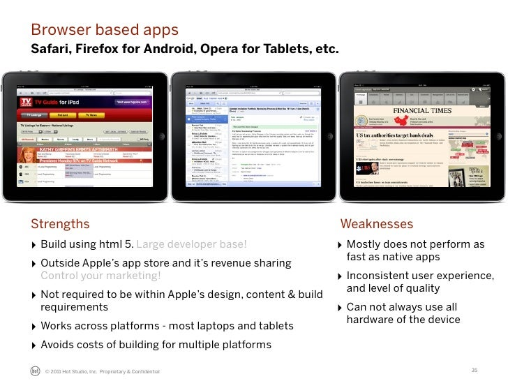 Browser based appsSafari, Firefox for Android, Opera for Tablets, etc.Strengths                                           ...