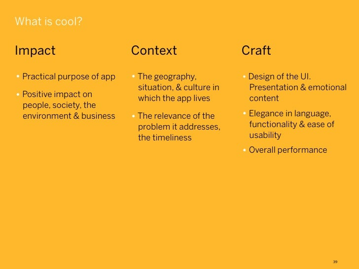What is cool?Impact                       Context                    Craft• Practical purpose of app   • The geography,   ...