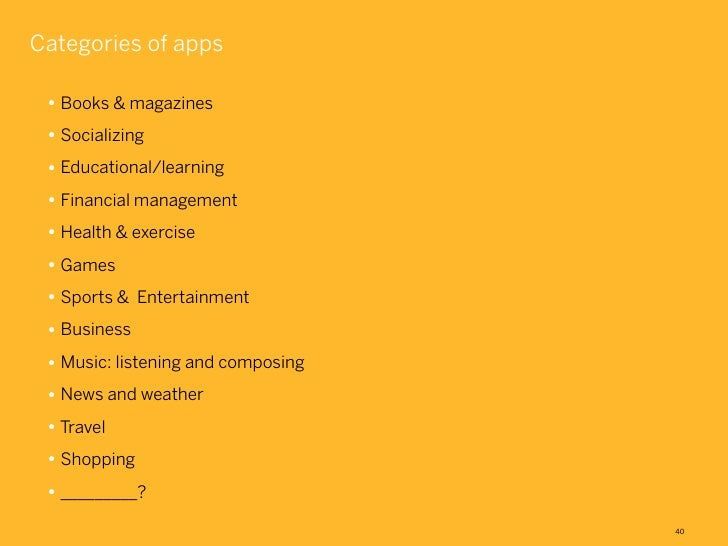 Categories of apps • Books & magazines • Socializing • Educational/learning • Financial management • Health & exercise • G...