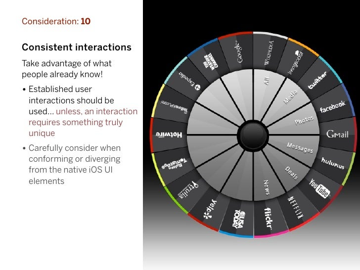 Consideration: 10Consistent interactionsTake advantage of whatpeople already know!• Established user interactions should b...