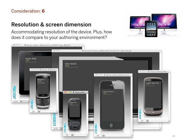 Consideration: 6Resolution & screen dimensionAccommodating resolution of the device. Plus, howdoes it compare to your auth...