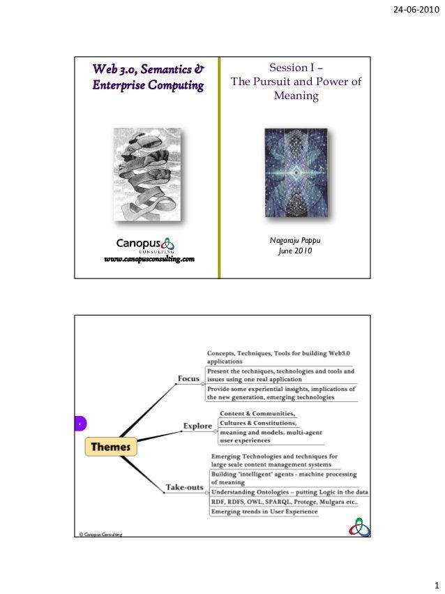 24-06-2010      Web 3.0, Semantics &                    Session I –      Enterprise Computing             The Pursuit and ...