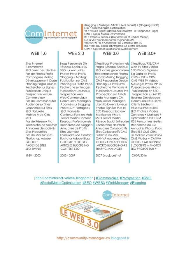 [http://cominternet-valerie.blogspot.fr ] #Commerciale #Prospection #SMO #SocialMediaOptimization #SEO #WEB3 #WebManager #...