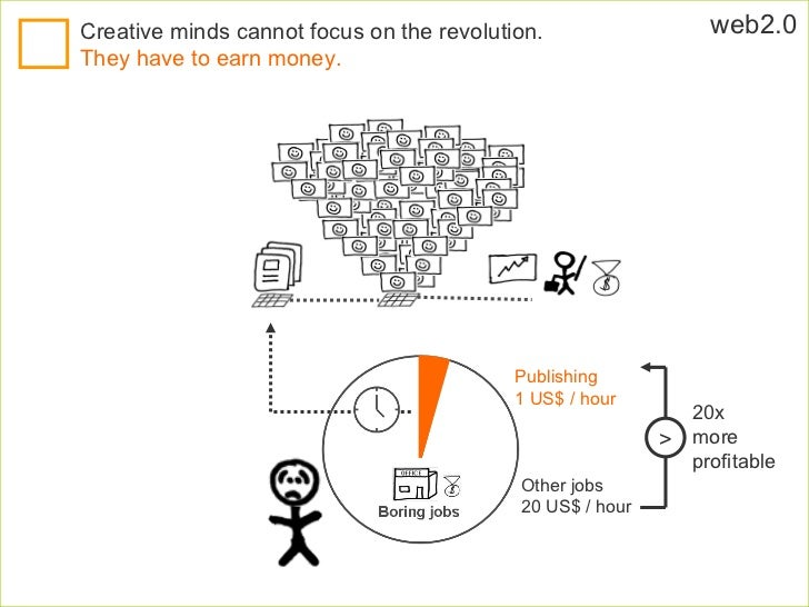 web2.0 Creative minds cannot focus on the revolution.   They have to earn money.  Publishing 1 US$ / hour Other jobs 20 US...