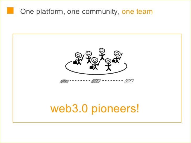 One platform, one community,  one team web3.0 pioneers!