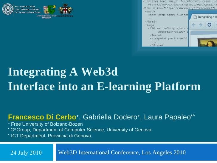 Integrating A Web3d Interface into an E-learning Platform