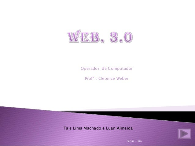 Operador de Computador Profª.: Cleonice Weber Tais Lima Machado e Luan Almeida. Senac - Rio