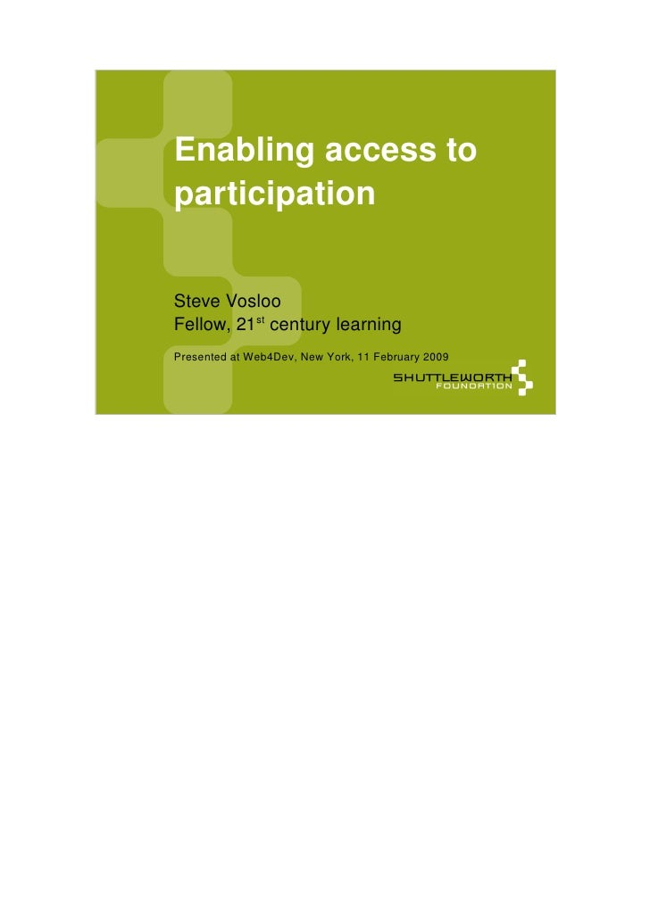 Enabling access to          participation    ...