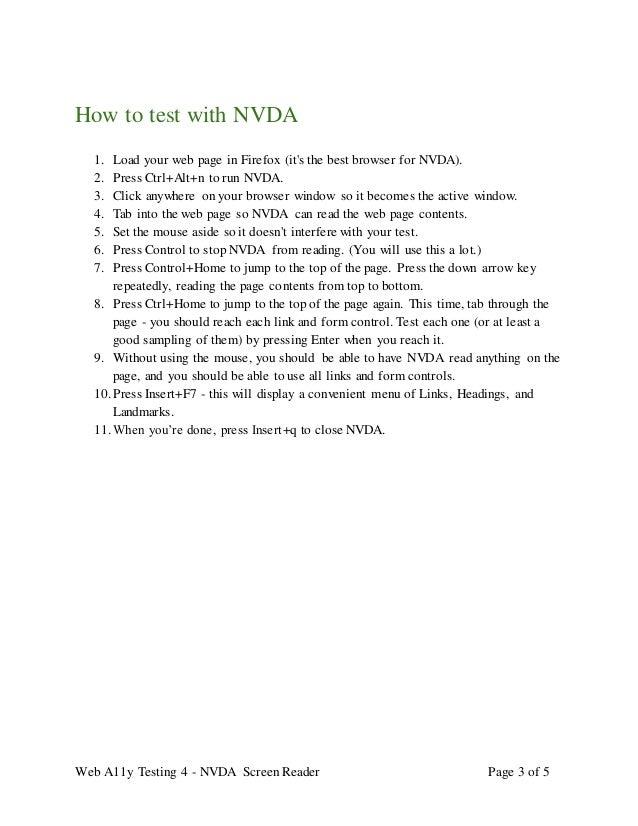 Web accessibility testing 4 - NVDA screen reader