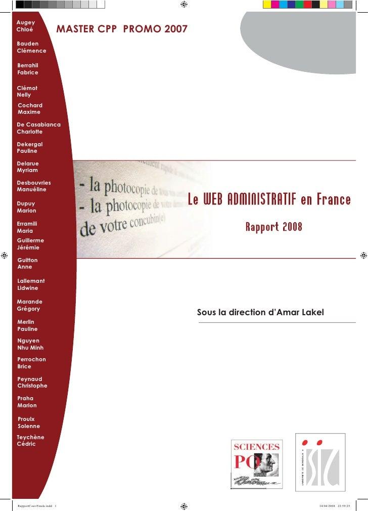 Augey Chloé         MASTER CPP PROMO 2007 Bauden Clémence  Berrahil Fabrice  Clémot Nelly Cochard Maxime  De Casabianca Ch...