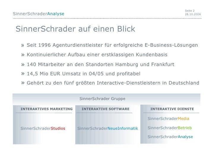 SinnerSchrader auf einen Blick <ul><li>Seit 1996 Agenturdienstleister für erfolgreiche E-Business-Lösungen </li></ul><ul><...
