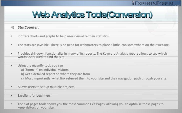 <ul><li>4)  StatCounter: </li></ul><ul><li>It offers charts and graphs to help users visualize their statistics. </li></ul...
