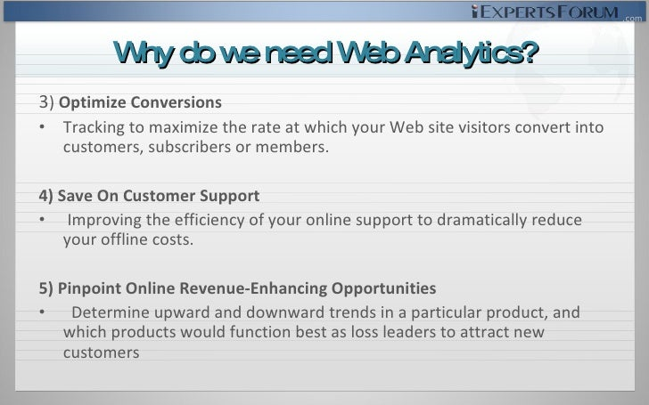 <ul><li>3 )  Optimize Conversions </li></ul><ul><li>Tracking to maximize the rate at which your Web site visitors convert ...