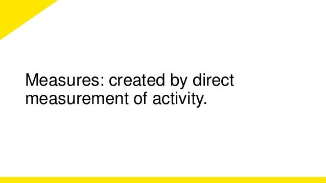 Measures: created by direct  measurement of activity.