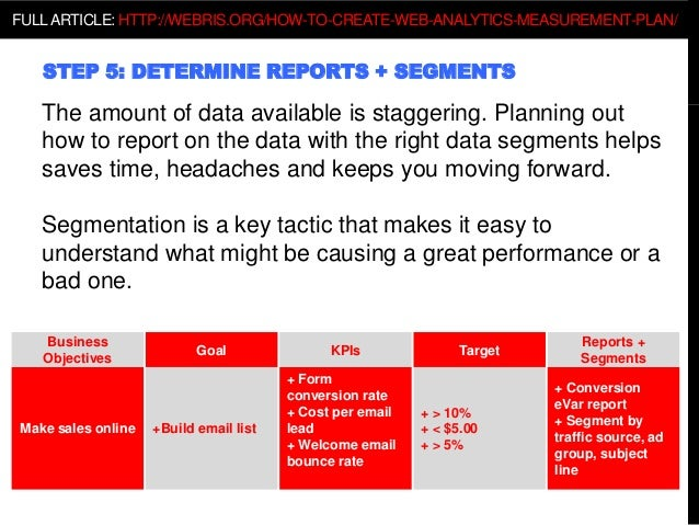 STEP 5: DETERMINE REPORTS + SEGMENTS The amount of data available is staggering. Planning out how to report on the data wi...