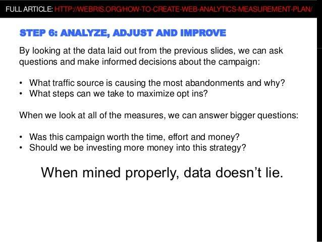 STEP 6: ANALYZE, ADJUST AND IMPROVE By looking at the data laid out from the previous slides, we can ask questions and mak...