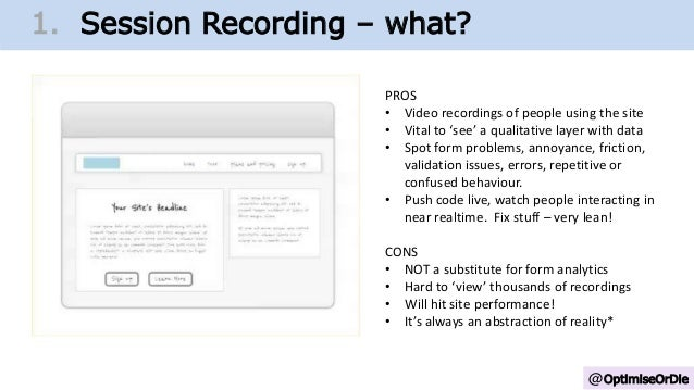 @OptimiseOrDie 1. Change Growth Trajectory1. Session Recording – what? PROS • Video recordings of people using the site • ...