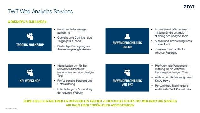 © www.twt.de WORKSHOPS & SCHULUNGEN TWT Web Analytics Services ! TAGGING WORKSHOP   ! KPI WORKSHOP   ! ANWENDERSCHULUN...