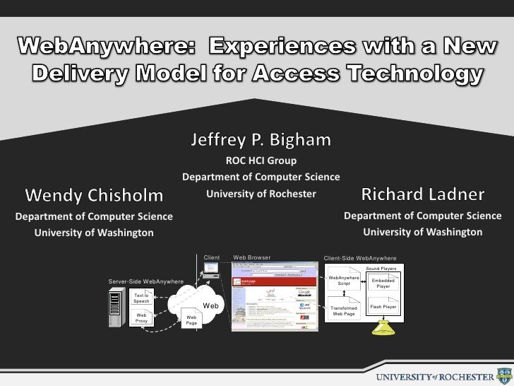 WebAnywhere:  Experiences with a New Delivery Model for Access Technology<br />Jeffrey P. Bigham<br />ROC HCI Group<br />D...