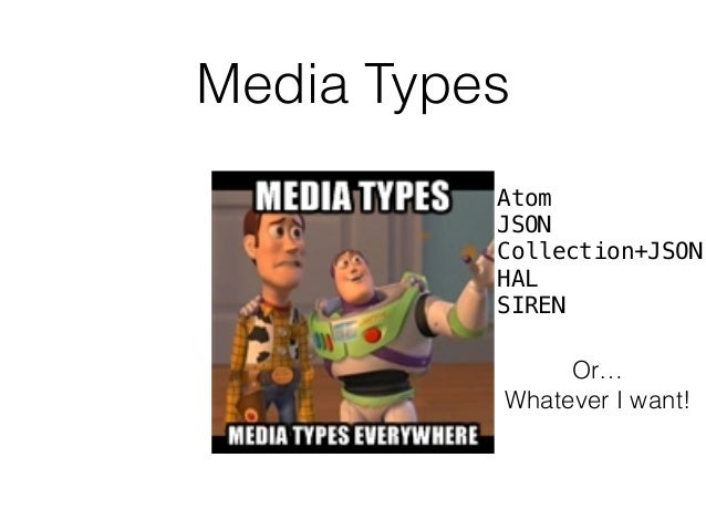 Media Types Atom JSON Collection+JSON HAL SIREN Or… Whatever I want!