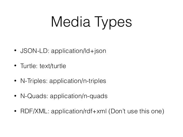 No need for another media type • The media type isn't that relevant anymore • Any schema or data model can be described wi...
