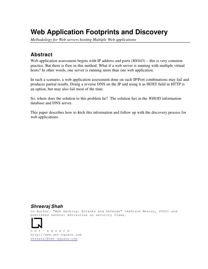 Web Application Footprints and Discovery Methodology for Web servers hosting Multiple Web applications   Abstract Web appl...