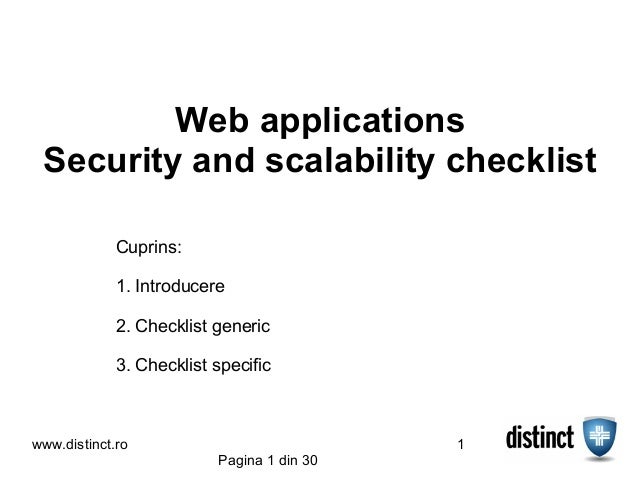 Web applications Security and scalability checklist             Cuprins:             1. Introducere             2. Checkli...