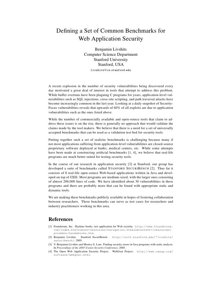 Defining a Set of Common Benchmarks for              Web Application Security                                   Benjamin Li...