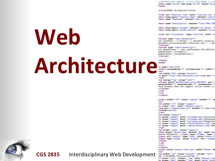 WebArchitectureCGS 2835 Interdisciplinary Web Development